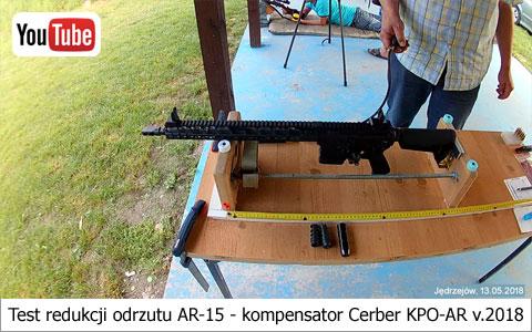 Test redukcji odrzutu AR-15 - kompensator Cerber KPO-AR v.2018