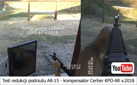 Test redukcji podrzutu AR-15 - kompensator Cerber KPO-AR v.2018